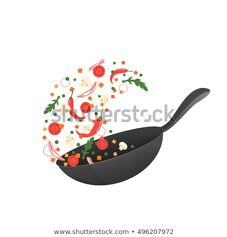 Chinese Food: Fried Bacon with Pepper Stock photo © bbbar