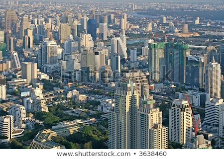 View across Bangkok skyline showing office blocks and condominiu Stock photo © meinzahn