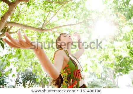 女性 立って のどかな 表示 草 自然 ストックフォト © HASLOO
