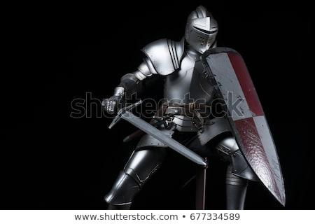 ストックフォト: 騎士 · 剣 · 白 · 孤立した · 3D · 画像