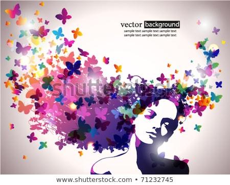 fille · visage · silhouette · belle · longtemps · blond - photo stock © beaubelle