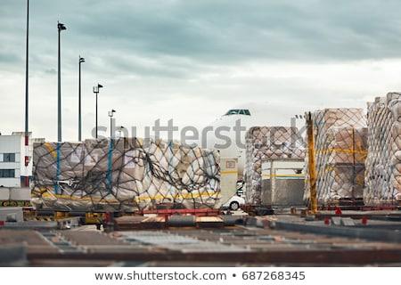 Groot vracht vliegtuig gestileerde cartoon stijl Stockfoto © tracer