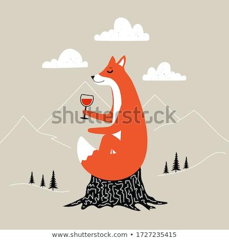 Oturma tilki görüntü bahar portre kırmızı Stok fotoğraf © w20er