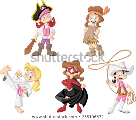 Cartoon cowgirl with lasso Stock photo © antonbrand