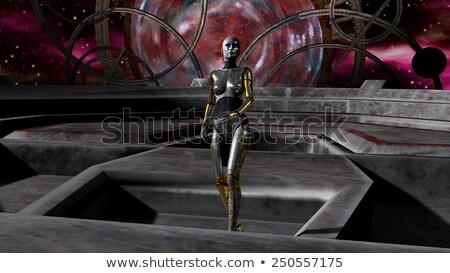 宇宙船 · 女性 · ロボット · コンピュータ · 生成された · 3次元の図 - ストックフォト © ankarb