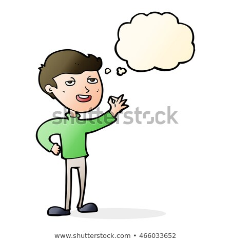 cartoon man making excellent gesture with thought bubble Stock photo © lineartestpilot