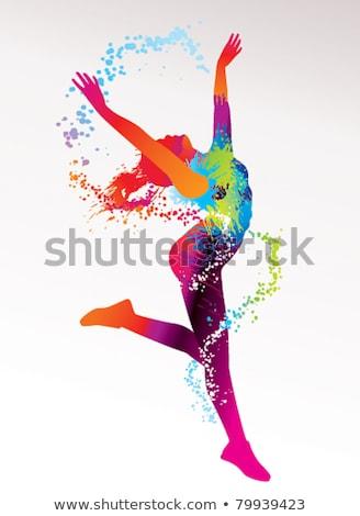 Modern genç kız mor renkli kadın kız Stok fotoğraf © leonido