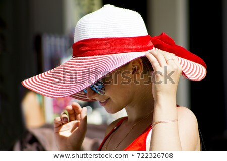 Mysterious Woman in Elegant white Hat and glowes Stock photo © stryjek