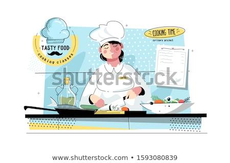 chef cuts the roll  Stock photo © OleksandrO