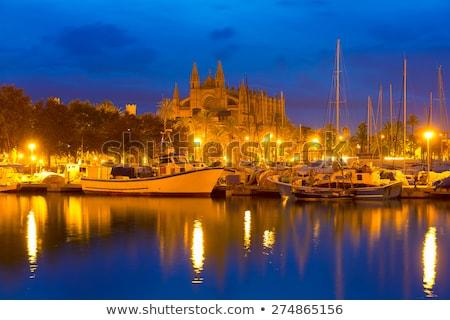catedral · mallorca · noite · la · ver · céu - foto stock © lunamarina
