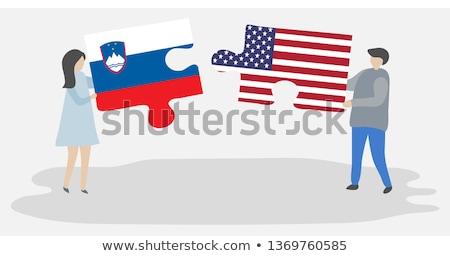 USA · Slovenië · vlaggen · puzzel · vector · afbeelding - stockfoto © istanbul2009