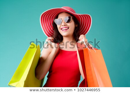 mujer · de · moda · turquesa · vestido · elegante · pie - foto stock © acidgrey