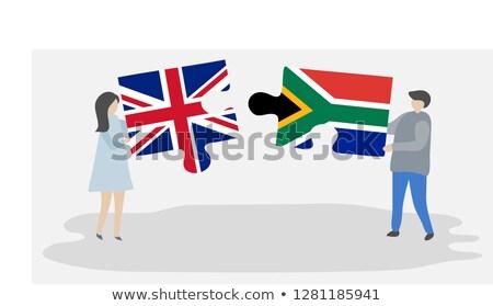 bandeira · África · do · Sul · mapa · África · vento · têxtil - foto stock © istanbul2009