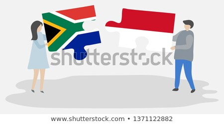 Stock photo: Indonesia and South Africa Flags in puzzle