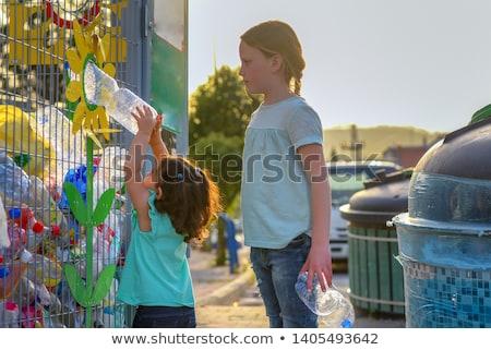Two Yellow Recycle Bins on the Street Stock photo © stevanovicigor