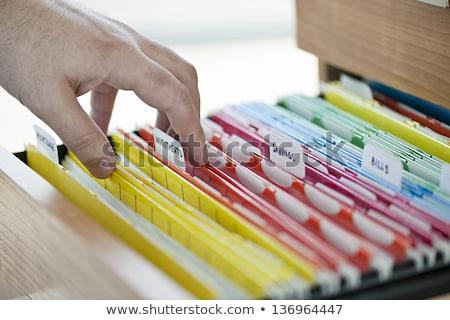 mappen · label · inkomen · geld · bureau · Maakt · een · reservekopie - stockfoto © zerbor