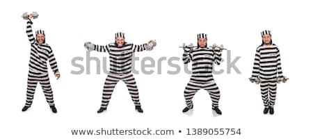 Więzienia więzień hantle odizolowany biały człowiek Zdjęcia stock © Elnur