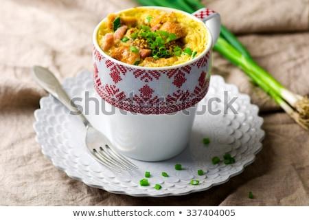 Omelet In A Mug Prepared In Microwave Stok fotoğraf © zoryanchik