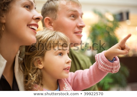 family with girl little with hand pointing finger forward Stock photo © Paha_L