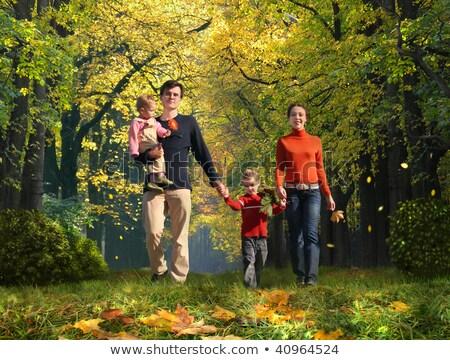 familia · cuatro · parque · collage · árbol - foto stock © Paha_L