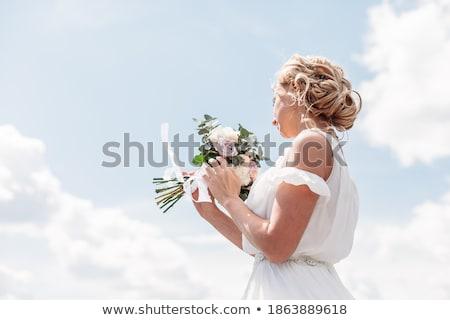 Stock foto: Braut · Bouquet · Himmel · Hochzeit · Gesicht · Liebe