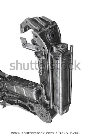 Hand of Cyborg sculpture made from scrap metal isolated Stock photo © stoonn