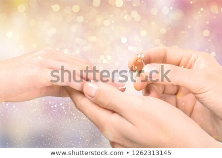 Ring presenteren kussen liefde achtergrond witte Stockfoto © esatphotography