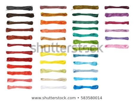 Borduurwerk draad witte kleuren geïsoleerd groene Stockfoto © ivonnewierink