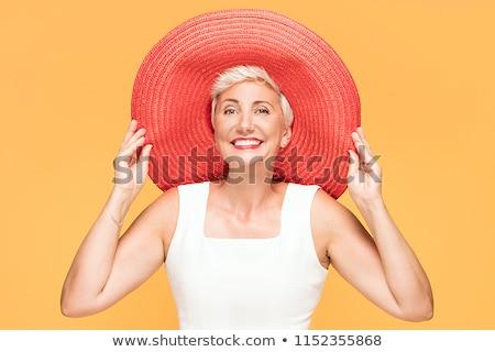 kadın · üst · şapka · güzel · genç - stok fotoğraf © elnur