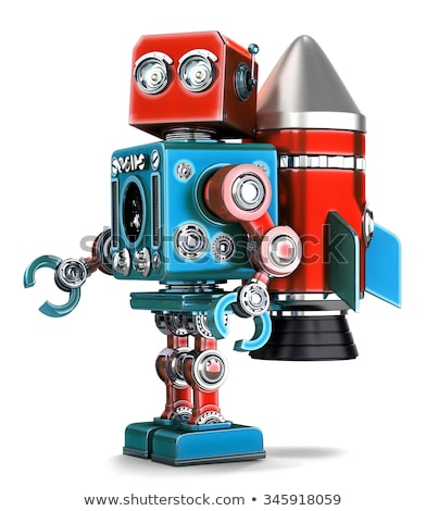 Retro Robot with rocket jetpack. Isolated. Contains clipping path Stock photo © Kirill_M