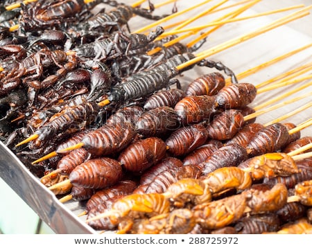 thai · étel · piac · sült · rovarok · szöcske · falatozó - stock fotó © mariusz_prusaczyk