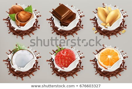 doce · leite · chocolate · nozes · espaço · texto - foto stock © grafvision