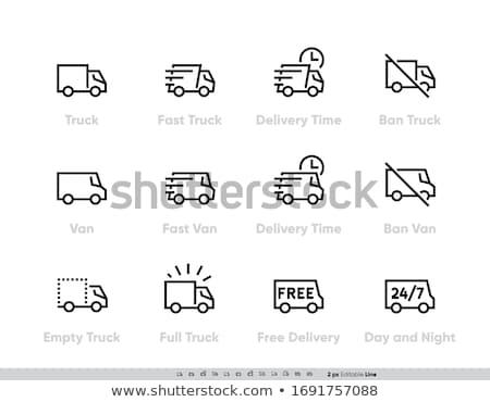 Gratis verzending icon symbool illustratie ontwerp vrachtwagen Stockfoto © kiddaikiddee
