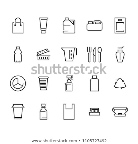 Tek kullanımlık fincan hat ikon köşeler web Stok fotoğraf © RAStudio