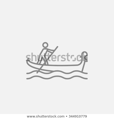 Denizci kürek çekme tekne hat ikon köşeler Stok fotoğraf © RAStudio