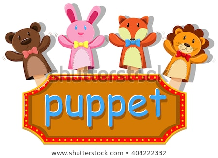 Animals puppets with sign Stock photo © bluering