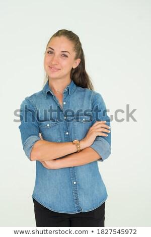 fiatal · nő · karok · néz · kamera · rajz · üzlet - stock fotó © deandrobot