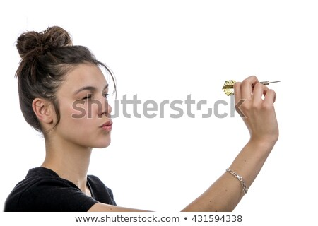 attractive girl aiming stock photo © milanmarkovic78