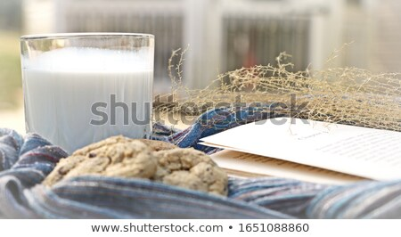 Сток-фото: Homemade Chocolate Chip Cookies Milk Cup And Open Book