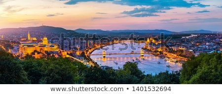 cityscape of budapest hungary at sunset stock photo © kayco