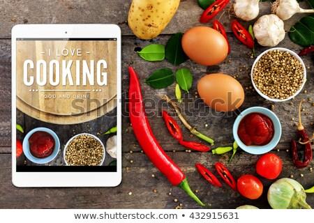 tabletta · konyhaasztal · törölköző · főzés · kellékek · fából · készült - stock fotó © karandaev