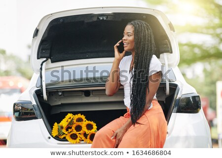 Young pretty smiling woman at broken car Stock photo © Aikon