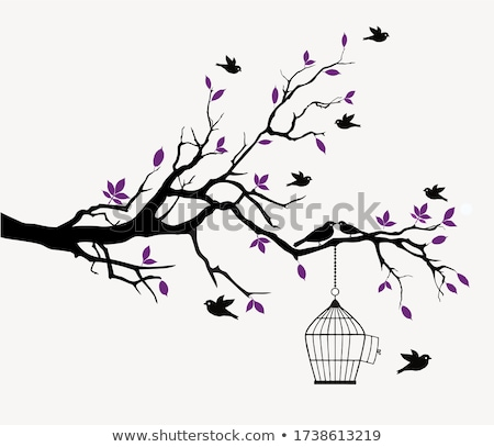 Arbre illustration nature colombe silhouette Photo stock © adrenalina