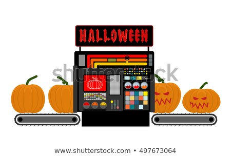 Halloween factory. device manufacturing scary pumpkin. Vegetable stock photo © popaukropa