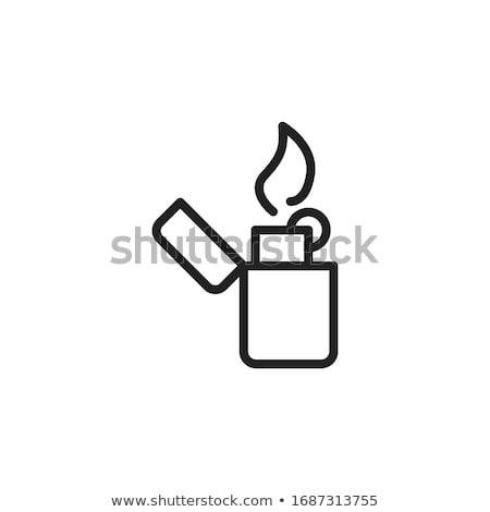 Accendino icone illustrazione bianco sfondo fumo Foto d'archivio © bluering
