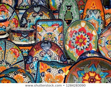 Renkli seramik Meksika plaka Meksika tatil Stok fotoğraf © billperry