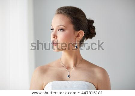 ダイヤモンド · ネックレス · バラ · 中心 · ピンクのバラ · 花 - ストックフォト © dolgachov
