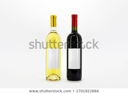 Stock fotó: Set Of Bottles Red And White Wine On White Clipping Path High