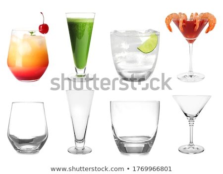 Stock photo: set of empty cocktail glasses isolated on white background with