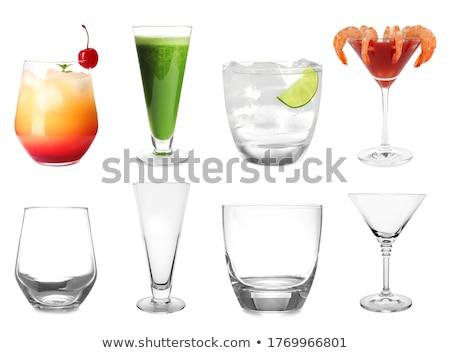 Conjunto vazio coquetel óculos isolado branco Foto stock © kayros